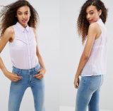 Dame-Spitze-Muffen-Bluse mit Sleeveless Bluse