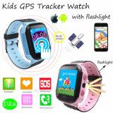 Tela de toque criança/filhos Rastreador GPS portátil assistir com a lanterna D26