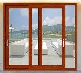 Porte coulissante en aluminium en bois de cerise de mode pour le balcon