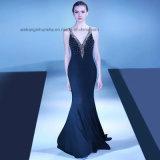 Lovemay V Cordão de pescoço partido Prom Beca longa noite vestidos preto