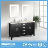 Vanité de salle de bain en bois massif classique finissant avec deux bassins et miroirs (BV125W)