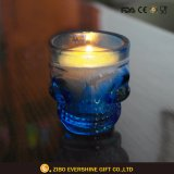 Supporto di candela di vetro di figura del cranio come a casa decorazione