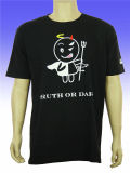 T-shirt unisexe de coton imprimé par couleur simple promotionnelle