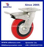 Bogenförmige verzinkte Schwenker-Hochleistungsfußrolle rotes PU-Rad