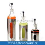 Vidrio transparente con botella de acero inoxidable y tarros de establecer