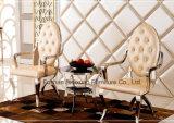 Стулы трона Frech самомоднейшей роскошной нержавеющей стали стеклянные с подлокотником