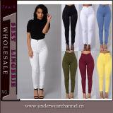 El dril de algodón atractivo del algodón de las mujeres borda los pantalones vaqueros (TSN00363)