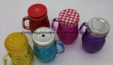 Tasse en verre de bouteille en verre de cadeau promotionnel/cuvette de thé avec le couvercle et la paille en métal
