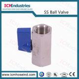 De aço inoxidável 304 Mini-Válvula de Esfera Mxm alça azul