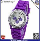 Цветки Женева самых новых женщин Yxl-903 напечатали вахту wristwatch кварца белой полосы силикона сетноой-аналогов для подарка