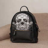 Black PU The Skull Printing Backpack Bag (A044 - 1)
