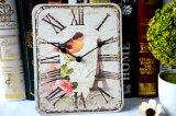 주문 나무로 되는 시계 사각 앙티크 예술 시계
