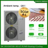 Cop élevé d'intérieur fendu de condenseur de pompe à chaleur de l'eau d'air d'inverseur du mètre Room12kw/19kw du chauffage d'étage de l'hiver de l'Allemagne Evi Tech-25c 120sq