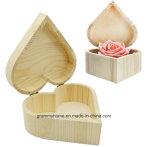 Anello di legno degli orecchini di memoria di trucco del regalo di cerimonia nuziale del contenitore di monili della casella di figura del cuore delle caselle di memoria