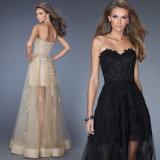 Señoras vestido de noche Fiesta diseño Aplique Largo Negro falda