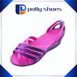 Фотоий сандалий повелительниц клина пинка сандалий женщин фиоритуры