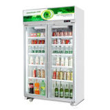 Les portes en verre de supermarchés en position verticale de boire des boissons du refroidisseur d'un réfrigérateur congélateur d'affichage
