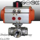 3PC wijfje Ingepaste Drijvende Kogelklep met Pneumatische Actuator