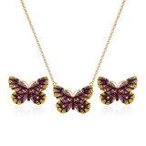Coloridas creativo conjunto de la Joyería Colgante Mariposa de cristal