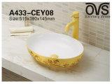 Goldene Qualitäts-Porzellan-Wannen-Wäsche-Bassin-Badezimmer-Eitelkeit