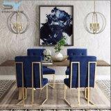ホテルの椅子の家具の現代食事の椅子の青いビロードの椅子