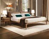 Het moderne Stevige Houten Bed van de As met het Dubbele Kussen van de Stof op Hoofdeinde