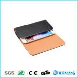 Caisse universelle de téléphone de poche d'étui en cuir lustré horizontal de clip ceinture