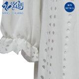 Weiße runde Muffen-Kurzschluss-Hülsen-lose Damen steuern Sommer-Bluse automatisch an