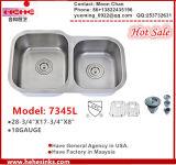 60/40 Undermount évier de cuisine en acier inoxydable, le lavage du bassin (7345L)