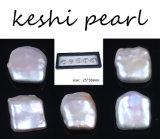 Nueva alta calidad nueva perla de Keshi de 25 * 30m m blanco remanente con el caso