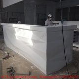 Custom Curved Diamond Shape White Corian Modern Bar Counter in Marble