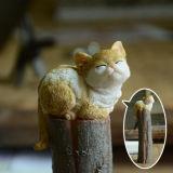 Произведения искусства Figurines кота смолаы миниатюрные симпатичные самонаводят котята подарков декора сада