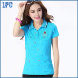 DOT Printed White Classical Style Short Sleeve Ladies Polo