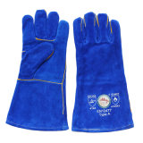Синий Heavey обязанность Cowhide Split кожаные перчатки сварки с кевлара поток
