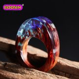 De resina artesanal personalizada de los anillos de madera con flores naturales para la Mujer