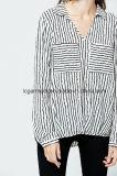 Spätestes beiläufiges Entwurfs-Streifen-Frauen-Hemd-lange Hülsen-Mädchen-Bluse