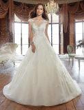 Hot Slim Undefined Waistline sem mangas A-Line vestido de casamento com Applique