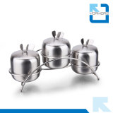 3 peças de aço inoxidável Spice Condimento vaso de pimenta sal pot de armazenamento
