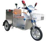 Accumulazione di Transportaion dei rifiuti dell'immondizia che pulisce triciclo elettrico con la pattumiera inossidabile