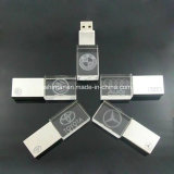 A luz de LED USB Metal Cristal de memória USB Flash Drive USB
