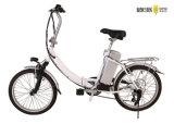 Una bici elettrica registrabile delle due rotelle di piegatura del peso leggero elettrico d'argento della bicicletta