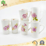2017 Hot-Selling 13oz Rose Tazas de porcelana de flores para regalo de boda