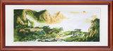 Prachtige Zonsopgang in het Chinese Mooie Muurschilderij van het Land
