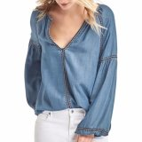 Form-Frauen-Stickerei gerade Tencel Denim-Shirt-Bluse