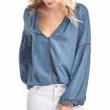 Мода женщин вышивка прямой Tencel джинсовой футболка блуза