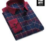 고품질 면 긴 소매 남자의 격자 무늬의 셔츠 우연한 셔츠