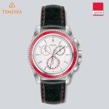 Neue Art-bunte Edelstahl-Leder-Quarz-Uhr für Mens72227