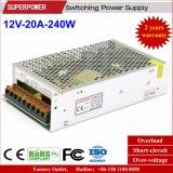 fuente de alimentación de la conmutación de 12V 20A 240W para la supervisión de seguridad