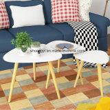 Tavolino da salotto solido superiore del piedino della melammina bianca con il bordo rotondo