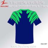 Modèle bon marché de chemise de couleur de blanc d'hommes bleus de vêtements de sport